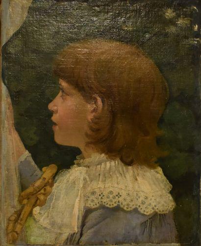 ECOLE FRANÇAISE vers 1900 : Enfant de profil....