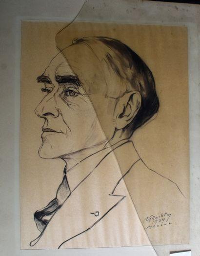 Erna PLACHTE (1893-1986) : Portrait d'homme....
