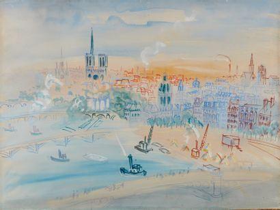 Jean DUFY (1888-1964)  Paris, la Seine au...