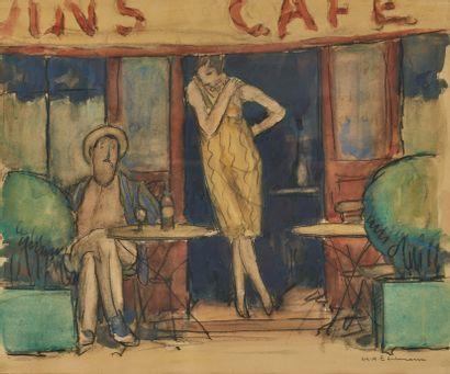Charles André EDELMANN (1879-1950)  Au café...