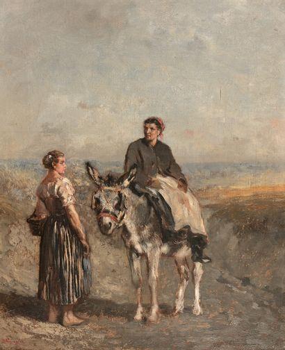Jules Jacques VEYRASSAT (1828-1893)  Paysanne...