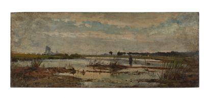 Edmond PETITJEAN (1844-1925)  Homme dans une barque - Paysage de la Loire  Huile...