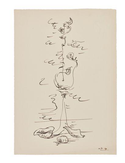 André MASSON (1896-1987) Femme et coquillages,...