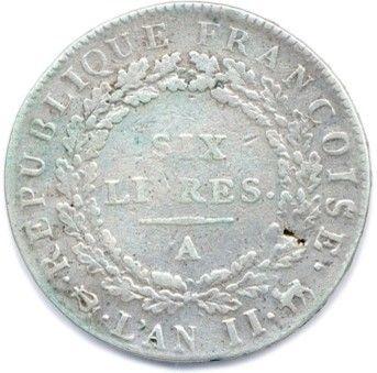 CONVENTION 1792-1795. Ecu de 6 Livres en argent 1793 – an II Paris. Gad 58 (29,17...