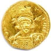 CONSTANTIN IV et ses frères 668. Buste casqué,...