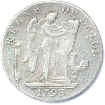 CONVENTION 1792-1795. Ecu de 6 Livres en...