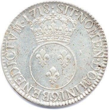 LOUIS XV 1715-1774. Ecu Vertugadin en argent 1718 9 = Rennes. Ci 2095 (30,21 g)....