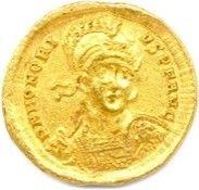 HONORIUS 392-423. Son buste casqué, cuirassé...