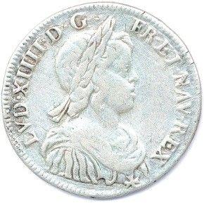 LOUIS XIV 1643-1715. Demi-écu d'argent mèche...