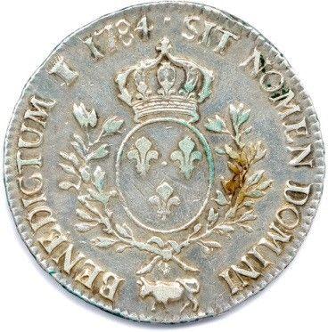 LOUIS XVI 1774-1793. Ecu aux lauriers en argent 1784 Vaquette = Pau. Ci 2187 (29,13...