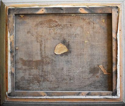ECOLE MODERNE : Bord de mer. Huile sur toile (restauration). Haut. 50 - Larg. 61...