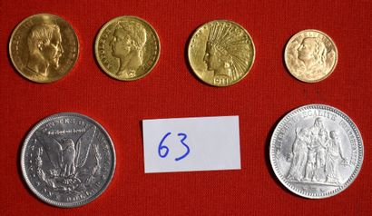 QUATRE PIECES OR : 50 francs français, 40...