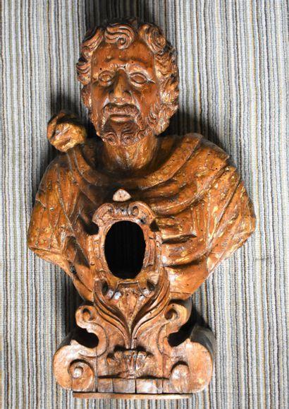 BUSTE reliquaire d'homme barbu en bois sculpté...