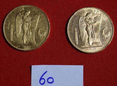 DEUX PIECES OR de 100 francs français, 1950....