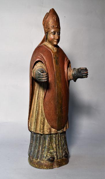 STATUETTE en bois polychrome : Saint Eloi....