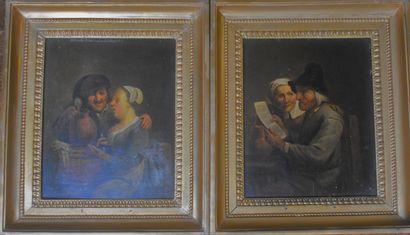 ECOLE HOLLANDAISE du XIXe siècle : Scènes...