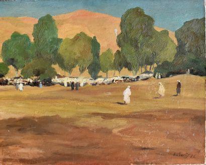 René AUBERTY (1903-1970) : Marché en Afrique...