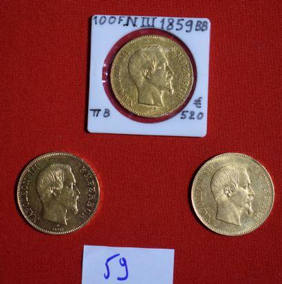 TROIS PIECES OR de 100 francs français,...