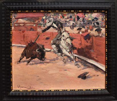 I TORNELLA (?) : La corrida. Huile sur toile...