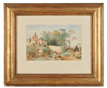 Constant TROYON (1810-1865) : Le Pont. Aquarelle...