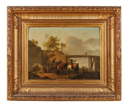 Michel HAMON DUPLESSIS (actif vers 1791-1799) : Convoi et soldats près d'un pont....