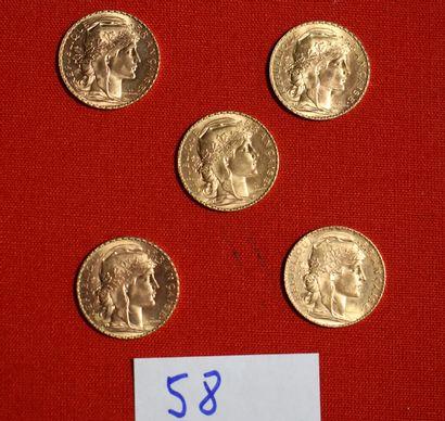 CINQ PIECES OR de 20 francs français.
