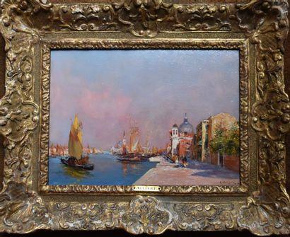 Raymond ALLEGRE (1857-1933) : Vue de Venise....