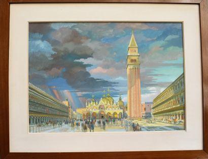 Gaston MARTY (1905-1977) : Venise, la place...