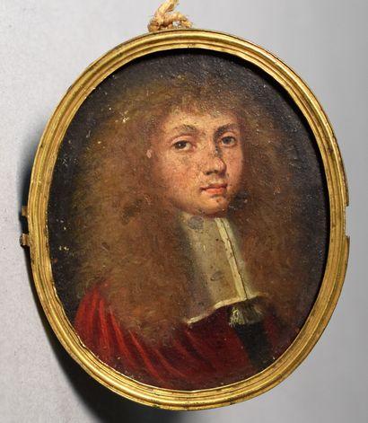 MINIATURE ovale sur cuivre : Portrait d'un...