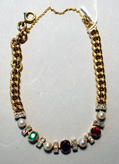 BRACELET en or, en partie serti de perles...