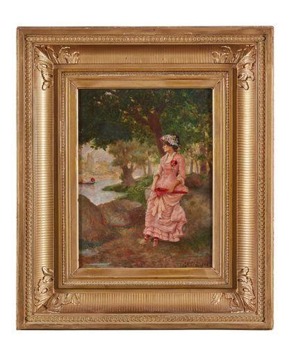Jean A. LANGRAND (1851-1898) : Femme à l'ombrelle...