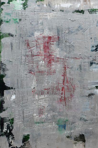 ECOLE CONTEMPORAINE : Composition. Huile...
