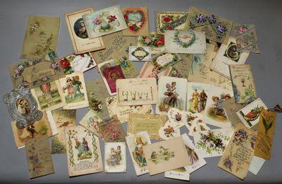 LOT d'imageries : carte de vœux, menus, images...