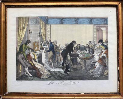 ESTAMPE en couleurs d'après Bosio : La Bouillotte....