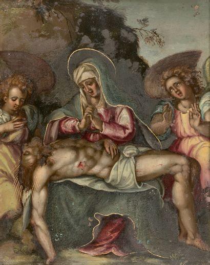 ECOLE FLAMANDE du XVIIe siècle : Pietà. Cuivre....