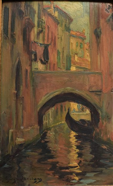 Georges LAVERGNE (1863-1942) : Pont à Venise....