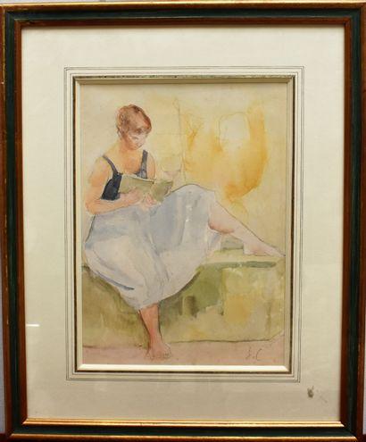 Jean CARTON (1912-1988) : Jeune femme lisant....