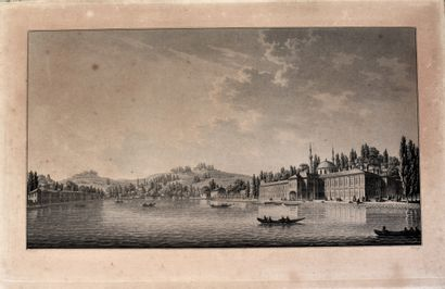 PAIRE D'ESTAMPES en noir par Préault, d'après Piringer : Palais au bord de l'eau...