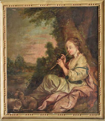 ECOLE FRANÇAISE vers 1800 : Jeune bergère...
