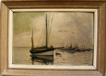 Henri CALLOT (1875-1956) : Bateau à l'Ile...