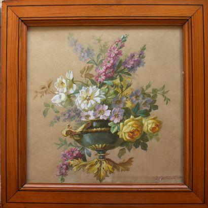 AQUARELLE sur papier chamois : Vase fleuri....