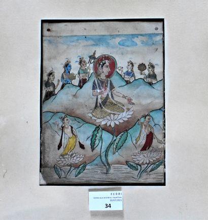 MINIATURE persane représentant la déesse...