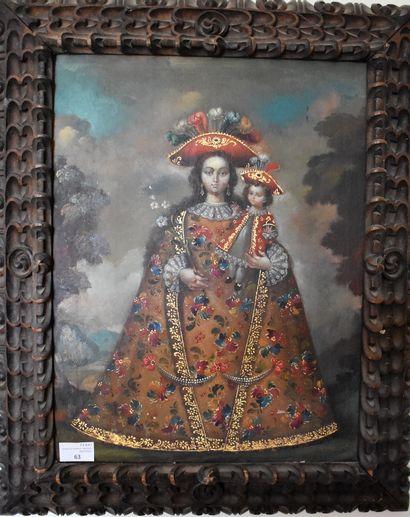 ECOLE DE CUZCO : Vierge à l'Enfant. Huile...