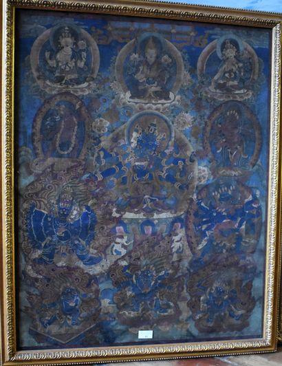 TANKA peinte à décor de ganesh et personnages...