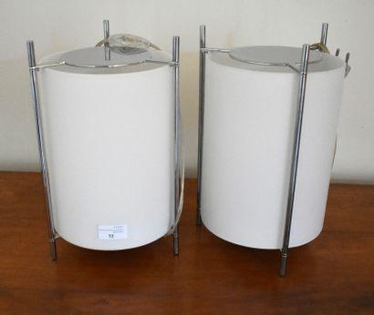 CARTYEN : PAIRE DE LAMPES modernistes tubulaires,...