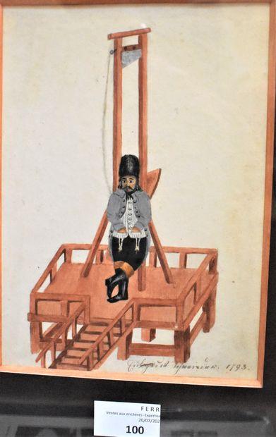 MINIATURE : Bourreau devant sa guillotine....