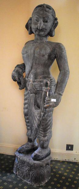 INDE : GRANDE STATUE de divinité en bois...