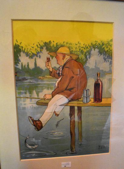 ROB : La pause du pêcheur. Planche signée...
