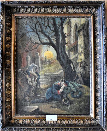 ECOLE FRANCAISE du XIXe siècle : Le chagrin....