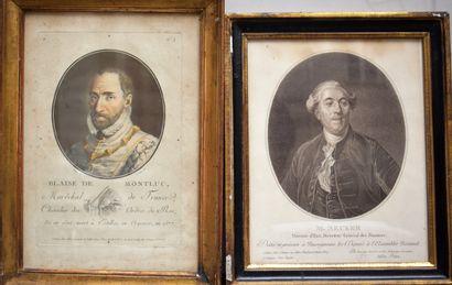 DEUX GRAVURES ovales : Portrait de Blaise...